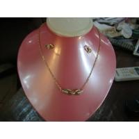 Bijoux avec pierre diamant (collier+boucle)